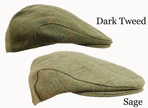 Children's Derby Tweed Flat Cap Available in Dark Tweed and Sage